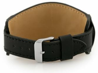 Pasek skórzany do zegarka W85 - podkładka - czarny - 22mm