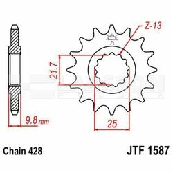 Zębatka przednia JT F1587-19, 19Z, rozmiar 428 2201470 Yamaha SR 500