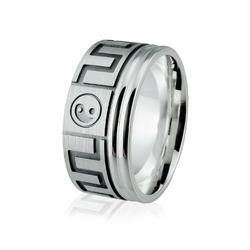 Obrączka srebrna męska z znakami równowagi Yin i yang - wzór Ag-186
