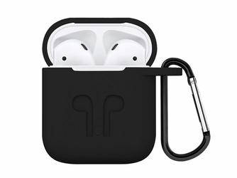 Etui do Apple AirPods silikonowe czarne + karabińczyk - Czarny