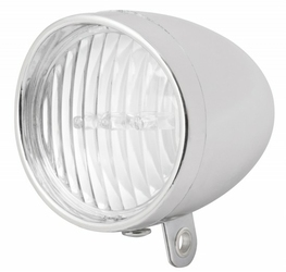 Lampa De-One przednia na widelec 3-Led na baterie srebrna HL-DE059