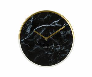 Karlsson :: Zegar ścienny Marble Delight czarny Ø30cm - czarny || mosiężny