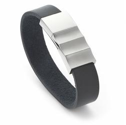 bransoletka magnetyczna ze stali nierdzewnej na czarnym skórzanym pasku-3333