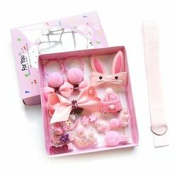 Zestaw dziewczęcy gumki spinki cukierkowy róż - jasny róż