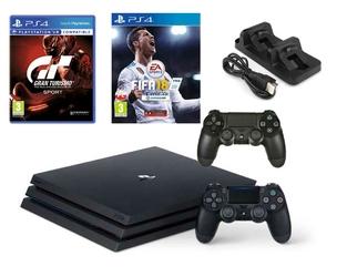 KONSOLA SONY PS4 PRO 1TB + 2 PADY + FIFA 18 + GRAN TURISMO + ŁADOWARKA