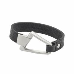 bransoletka magnetyczna 3256-1 z paskiem z czarnej skóry i trapezem ze stali nierdzewnej