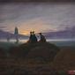 wschód księżyca nad morzem - caspar david friedrich; obraz - reprodukcja
