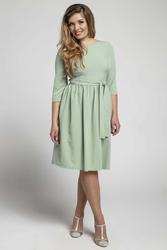 Zielona klasyczna sukienka z marszczonym dołem plus size