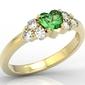 Pierścionek z żółtego złota z zielonym topazem swarovski i diamentami bp-54z - żółte  topaz green