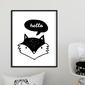 Hello fox - plakat dla dzieci , wymiary - 60cm x 90cm, kolor ramki - czarny