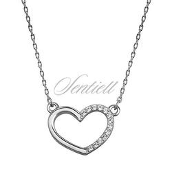 Srebrny naszyjnik pr.925 serce z cyrkoniami, łańcuszek ankor
