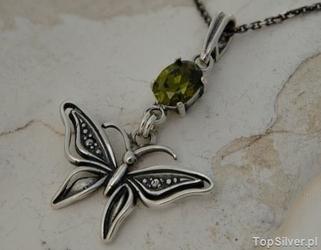 Motylek - srebrny wisiorek z oliwinem