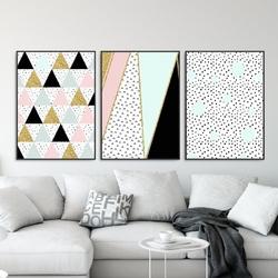 Zestaw trzech plakatów - golden pastel , wymiary - 40cm x 50cm 3 sztuki, kolor ramki - czarny