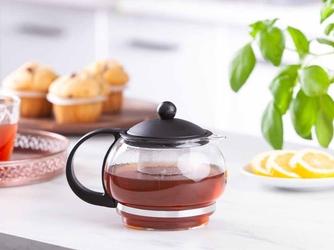 Dzbanek  czajniczek z zaparzaczem do herbaty i kawy szklany aneks 800 ml czarny
