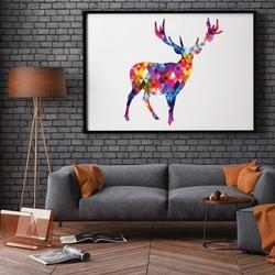 Designerski jeleń - plakat skandynawski , wymiary - 60cm x 90cm, ramka - biała