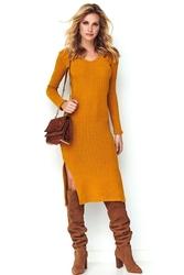Musztardowa swetrowa midi sukienka z rozcięciami na bokach