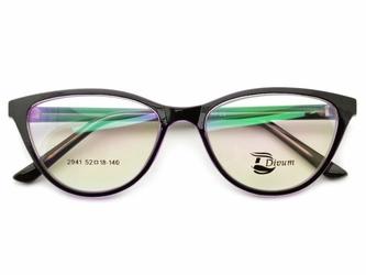 Oprawki okularowe pod korekcję kocie oko damskie st2941d czarno-fioletowe