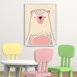 Różowy miś  - plakat dziecięcy , wymiary - 60cm x 90cm, kolor ramki - czarny