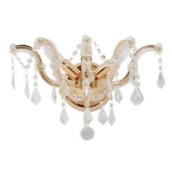 Kinkiet potrójny w stylu starofrancuskim, złocony, kryształowy chiaro crystal 383020403