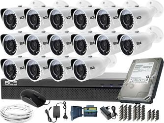 Kompletny zestaw do monitoringu hali boiska sklepu magazynu 16 kamer bcs-tq3200ir-e rejestrator bcs-xvr1601-iii dysk 1tb
