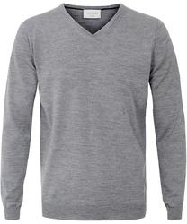 Sweter  pulower v-neck z wełny z merynosów szary m