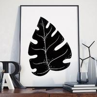 Plakat w ramie - black monstera , wymiary - 20cm x 30cm, ramka - biała