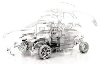 Naklejka auto trasparente, componenti, progetto 3d, tuning, motori