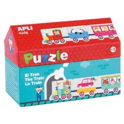 Puzzle w kartonowym domku apli kids - pociąg