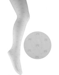 Białe rajstopy ze srebrnymi kokardkami