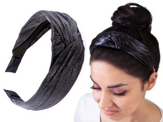 Opaska do włosów węzeł turban czarna metaliczna