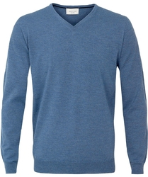 Sweter  pulower v-neck z wełny z merynosów niebieski xl