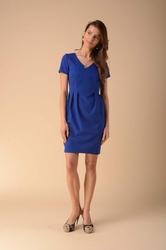 Dopasowana sukienka z zakładkami niebieska