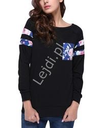 Czarna bluza damska z kieszonką w kwiaty 0618