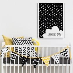 Sweet dreams - plakat designerski dla dzieci , wymiary - 40cm x 50cm, kolor ramki - czarny