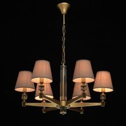 Żyrandol nowoczesny, antyczny mosiądz i szare abażury mw-light neoclassic 700012106
