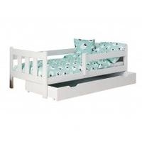 Łóżko dziecięce z szufladą marinella 160x80 cm drewniane białe sosna
