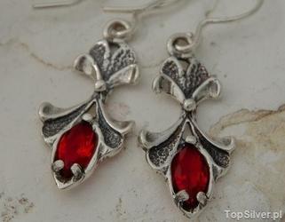 Jasper  - srebrne kolczyki z rubinem