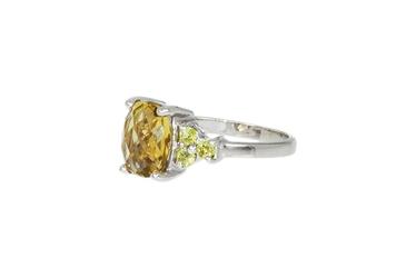 Srebrny pierścionek z peridotem i cytrynem