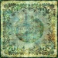 Obraz na płótnie canvas dwuczęściowy dyptyk vintage, zielony koronkowy papier