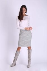 Szara ołówkowa spódnica midi z tkaniny buckle