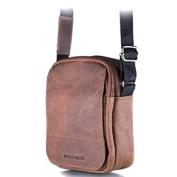 Skórzana torba męska listonoszka brodrene bl04 jasnobrązowa - j. brązowy