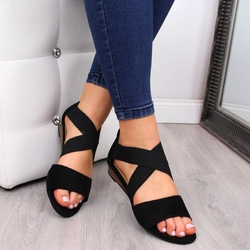Sandały damskie na gumy czarne vinceza