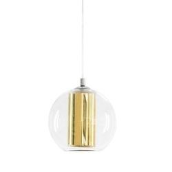 Kaspa - lampa wisząca l - merida - abażur złoty - złoty