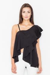 Czarna asymetryczna bluzka z dużą falbaną