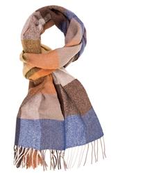 Elegancki szal w niebieską, beżową i miodową kratę z wełny z kaszmirem