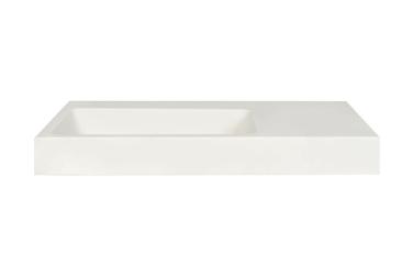 Umywalka matowa prostokątna derida biała wisząca lewa