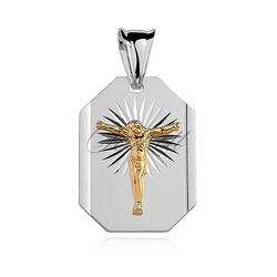 Srebrny diamentowany medalik pr.925 jezus na krzyżu pozłacany
