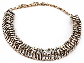 Kolia naszyjnik zdobiona srebrna złota kryształy - white