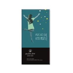 Tabliczka gorzkiej czekolady raduj się kto może balsi - wyjątkowy artystyczny prezent na każdy dzień z mikro plakatem