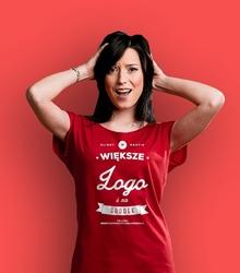 Większe logo i na środek t-shirt damski czerwony xxl